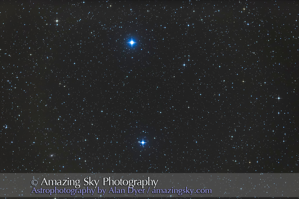 Gamma Arietis, aka Mesarthim, a double star in Aries (below) with the star Sheratan (Beta Arietis) at top. The galaxy NGC 772 is at lower left. This is a stack of 4 x 4 minute exposures with the TMB 92mm apo refractor at f/4.4 with the 0.85x Borg field flattener/reducer and Canon 6D at ISO 800.