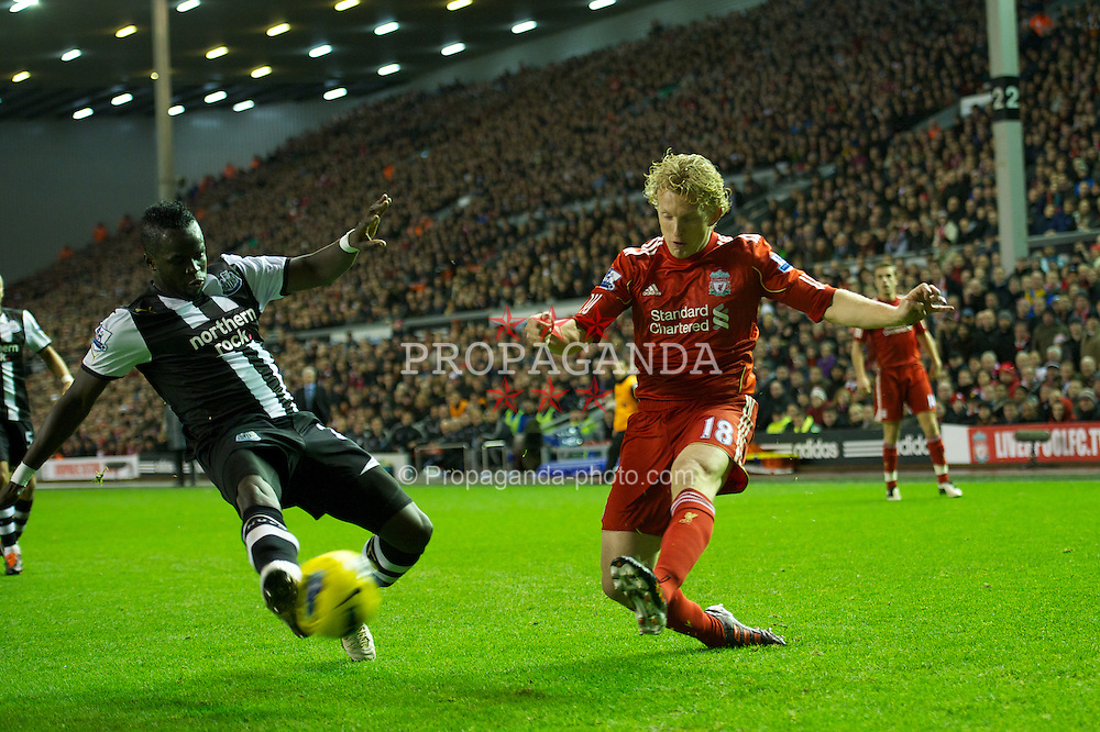 LIVERPOOL, ENGLAND - Friday, December 30, 2011: Liverpool's Dirk Kuyt in action against Newcastle United during the Premiership match at Anfield. (Pic by David Rawcliffe/Propaganda)