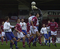 © Peter Spurrier/Sportsbeat Images <br />Tel + 441494783165 email images@sbimages.co.uk<br />06/12/2003 - Photo  Peter Spurrier<br />FA Cup 2nd Rd - Northampton v Weston S Mare<br />Goal mouth action as Weston attack Northamptons goal.