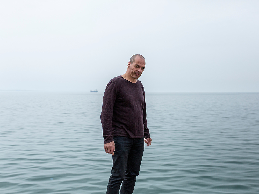 Yanis Varoufakis poses for a portrait at the promenade of Thessaloniki city, Northern Greece on the 29th of April 2017.