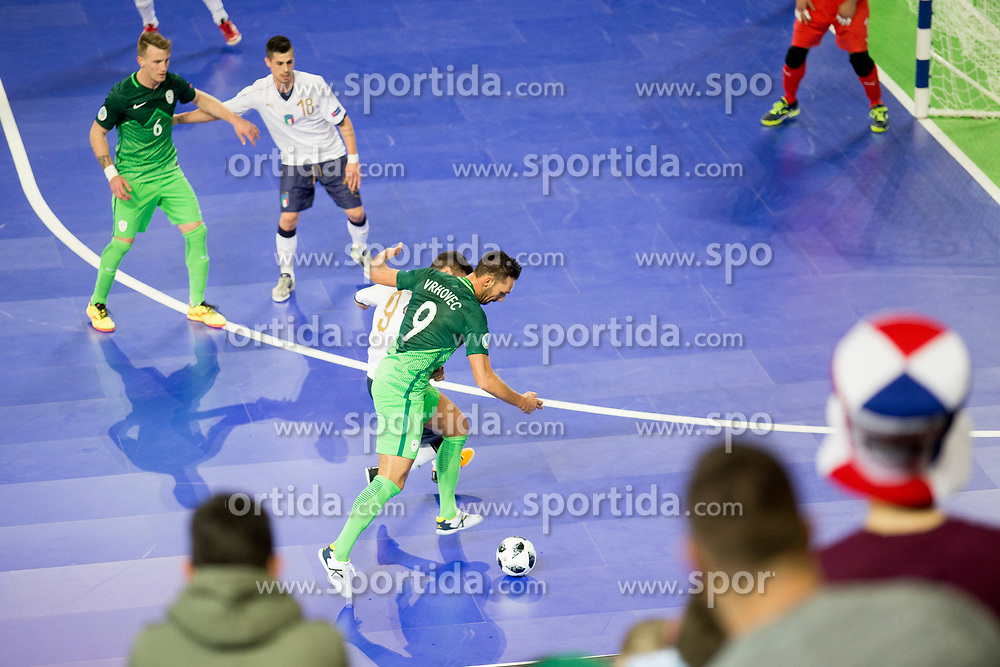 Gasper Vrhovec of Slovenia during futsal match between National teams of Slovenia and Italy at Day 5 of UEFA Futsal EURO 2018, on February 3, 2018 in Arena Stozice, Ljubljana, Slovenia. Photo by Urban Urbanc / Sportida