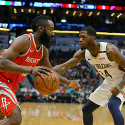 Mar 17, 2018; New Orleans, LA, USA; Houston Rockets guard James Harden (13) drives past New Orleans Pelicans guard DeAndre Liggins (34) during the first quarter at the Smoothie King Center. Mandatory Credit: Derick E. Hingle-USA TODAY Sports