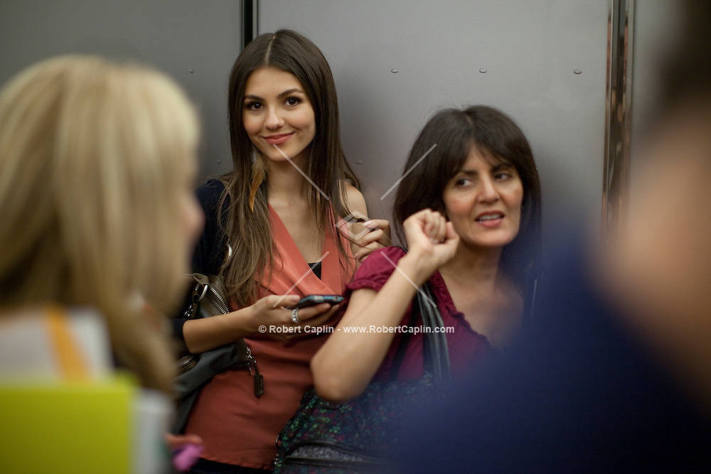 Actress and singer Victoria Justice in the Viacom Building in New York after visiting the Nickelodeon offices during Fall Fashion week 2011. ..Photo by Robert Caplin.