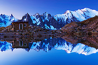 Mountain impression Lac Blanc with Aiguilles de Chamonix, Mont Blanc - Europe, France, Haute Savoie, Aiguilles Rouges, Chamonix, Lac Blanc - Dawn - September 2008