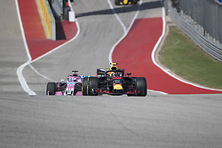 October 21, 2018 - Austin, USA - Aston Martin Red Bull Racing driver Max Verstappen (33) of Netherlands and Racing Point Force India driver Sergio Perez (11) of Mexico run a warmup lap before the start of the Formula 1 U.S. Grand Prix at the Circuit of the Americas in Austin, Texas on Sunday, Oct. 21, 2018. Versteppen finished second. (Credit Image: © Scott Coleman/ZUMA Wire)