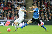 England midfielder James Milner plays the ball during the Group E UEFA European 2016 Qualifier match between England and Estonia at Wembley Stadium, London, England on 9 October 2015. Photo by Alan Franklin.