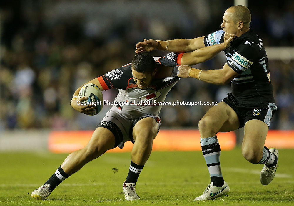 SYDNEY, AUSTRALIA - MAY 09:  Tuimoala Lolohea of the Warriors is tackled by Jeff Robson of the Sharks during the NRL Rugby League match between the Cronulla Sharks and the Vodafone Warriors at Remondis Stadium, Sydney, Australia. Saturday 9 May 2015. Copyright Photo: Mark Metcalfe / www.Photosport.co.nz  (Photo by Mark Metcalfe / www.photosport.co.nz/Mark Metcalfe / www.photosport.co.nz) *** Local Caption *** Tuimoala Lolohea;Jeff Robson