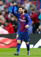FC Barcelona's Leo Messi celebrates goal during La Liga match. March 4,2018. (ALTERPHOTOS/Acero)