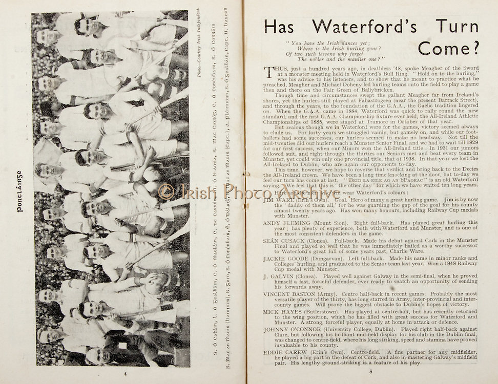 All Ireland Senior Hurling Championship Final,.Brochures,.05.09.1948, 09.05.1948, 5th September 1948, .Waterford 6-7, Dublin 4-2, .Minor Kilkenny v Waterford, .Senior Dublin v Waterford, .Croke Park, ..Articles, Has Waterford's Turn Come?,