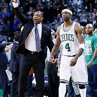 27 January 2013: Boston Celtics head coach Doc Rivers reacts next to Boston Celtics shooting guard Jason Terry (4) during the Boston Celtics 100-98  2OT victory over the Miami Heat at the TD Garden, Boston, Massachusetts, USA.