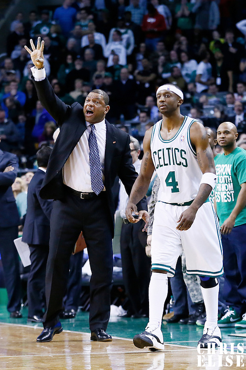 27 January 2013: Boston Celtics head coach Doc Rivers reacts next to Boston Celtics shooting guard Jason Terry (4) during the Boston Celtics 100-98  2OT victory over the Miami Heat at the TD Garden, Boston, Massachusetts, USA.
