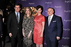 Left to right, PADDY BYNG, MD of Asprey,  DARCY RIGAS, ALEXANDRA ROACH and JOHN RIGAS he is Chairman of Asprey at the Asprey BAFTA Party held at Asprey, 167 New Bond Street, London on 11th February 2012.