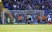 Conor Chaplin's first goal hits the back of the net during the Sky Bet League 2 match between Portsmouth and Barnet at Fratton Park, Portsmouth, England on 12 September 2015. Photo by David Charbit.