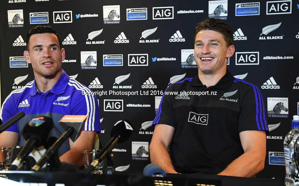 Ryan Crotty and Beauden Barrett during an All Blacks press conference in Hamilton ahead of the The Rugby Championship test match against Argentina. Thursday 8 September 2016. © Copyright Photo: Andrew Cornaga / www.Photosport.nz