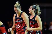 Ellie Bird and Brooke Leaver of the Tactix celebrates winning the ANZ Premiership Netball match, Tactix V Stars, Horncastle Arena, Christchurch, New Zealand, 23rd May 2018.Copyright photo: John Davidson / www.photosport.nz