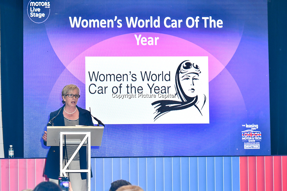 Speaker Sandy Myhre is the Womens World Car of the Year, The Judges at the London Motor & Tech Show‎ opening day on 16 May 2019, at Excel London, UK.