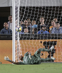 July 26, 2017 - Los Angeles, California, U.S - Keylor Navas #1 of Real Madrid sees the ball go out during their International Champions Cup game with Manchester City at the Los Angeles memorial Coliseum in Los Angeles, California on Wednesday July 26, 2017. Manchester City defeats Real Madrid, 4-1. (Credit Image: © Prensa Internacional via ZUMA Wire)
