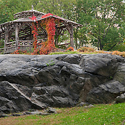 Rustic Shelter covered in red ivy, Central Park, October 2010