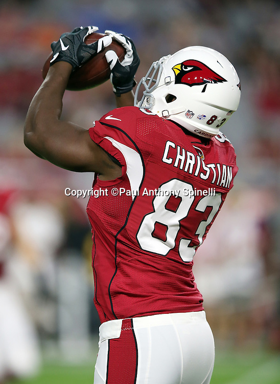 Arizona Cardinals rookie tight end Gerald Christian (83) catches a pass during the 2015 NFL preseason football game against the San Diego Chargers on Saturday, Aug. 22, 2015 in Glendale, Ariz. The Chargers won the game 22-19. (©Paul Anthony Spinelli)