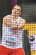 Great Britain, London - 2017 August 11: Wojciech Nowicki (Podlasie Bialystok) of Poland competes in men's hammer throw final during IAAF World Championships London 2017 Day 8 at London Stadium on August 11, 2017 in London, Great Britain.<br /> <br /> Mandatory credit:<br /> Photo by © Adam Nurkiewicz<br /> <br /> Adam Nurkiewicz declares that he has no rights to the image of people at the photographs of his authorship.<br /> <br /> Picture also available in RAW (NEF) or TIFF format on special request.<br /> <br /> Any editorial, commercial or promotional use requires written permission from the author of image.