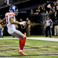 Nov 1, 2015; New Orleans, LA, USA; New York Giants wide receiver Odell Beckham (13) celebrates after a touchdown against the New Orleans Saints during the first quarter of a game at the Mercedes-Benz Superdome. The New Orleans Saints defeated the New York Giants 52-49. Mandatory Credit: Derick E. Hingle-USA TODAY Sports