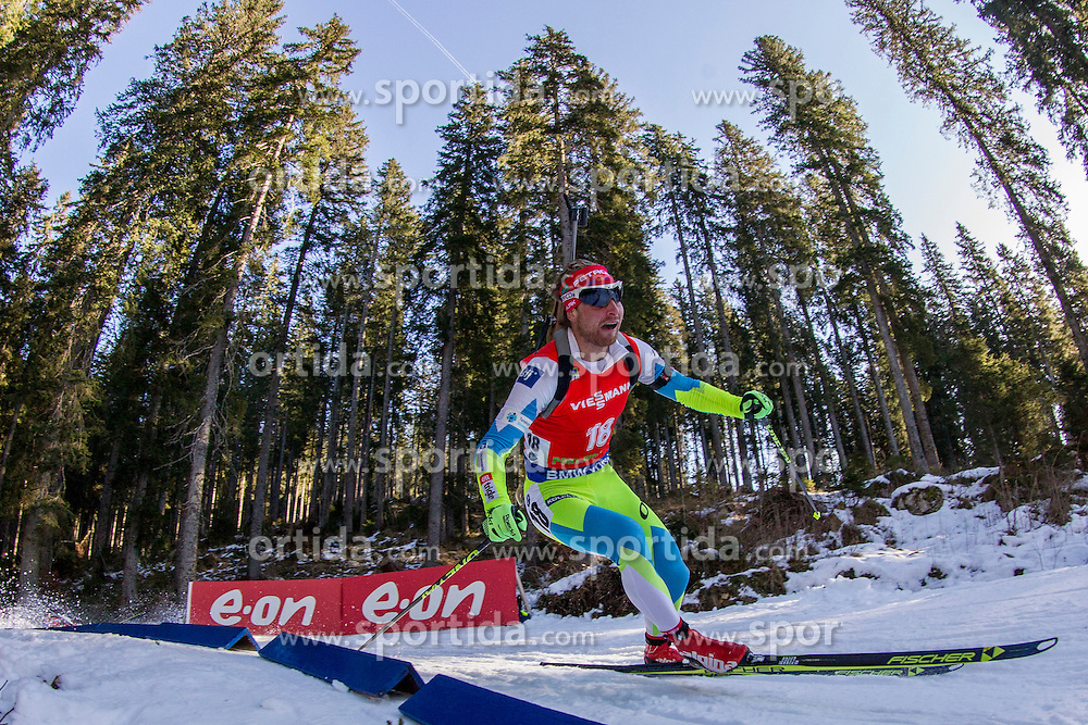 Klemen Bauer (SLO) competes during Men 12,5 km Pursuit at day 3 of IBU Biathlon World Cup 2015/16 Pokljuka, on December 19, 2015 in Rudno polje, Pokljuka, Slovenia. Photo by Urban Urbanc / Sportida