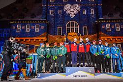 March 16, 2019 - –Stersund, Sweden - 190316 Erik Lesser, Roman Rees, Arnd Peiffer and Benedikt Doll of Germany, Johannes Thingnes Bø, Vetle SjÃ¥stad Christiansen, Tarjei Bø and Johannes Thingnes Bø of Norway, Matvey Eliseev, Nikita Porshnev, Dmitry Malyshko and Alexander Loginov of Russia celebrate during the medal ceremony for the Men's 4x7,5 km Relay during the IBU World Championships Biathlon on March 16, 2019 in Östersund..Photo: Petter Arvidson / BILDBYRÃ…N / kod PA / 92270 (Credit Image: © Petter Arvidson/Bildbyran via ZUMA Press)