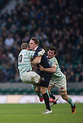 Twickenham, United Kingdom. Oxford's, Tom STILEMAN, carries two Cambridge players' as he run's through, during the  Men's Varsity Rugby, [Oxford vs Cambridge],Twickenham. UK, at the RFU Stadium, Twickenham, England, <br /> <br /> Thursday  08/12/2016<br /> <br /> [Mandatory Credit; Peter Spurrier/Intersport-images]