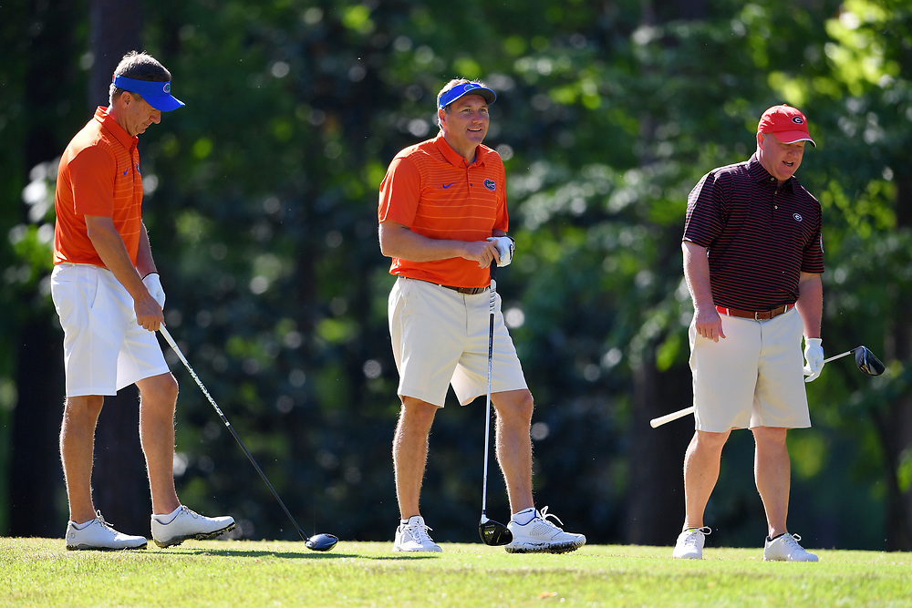 Dan Mullen during the Chick-fil-A Peach Bowl Challenge at the Oconee Golf Course at Reynolds Plantation, Sunday, May 1, 2018, in Greensboro, Georgia. (Dale Zanine via Abell Images for Chick-fil-A Peach Bowl Challenge)
