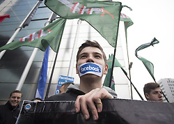 November 5, 2016 - Warsaw, Poland - Polish nationalists protest at the headquarters of Facebook in Warsaw, Poland, on 5 November 2016 against the blocking of Facebook accounts with nationalist materials. (Credit Image: © Krystian Dobuszynski/NurPhoto via ZUMA Press)