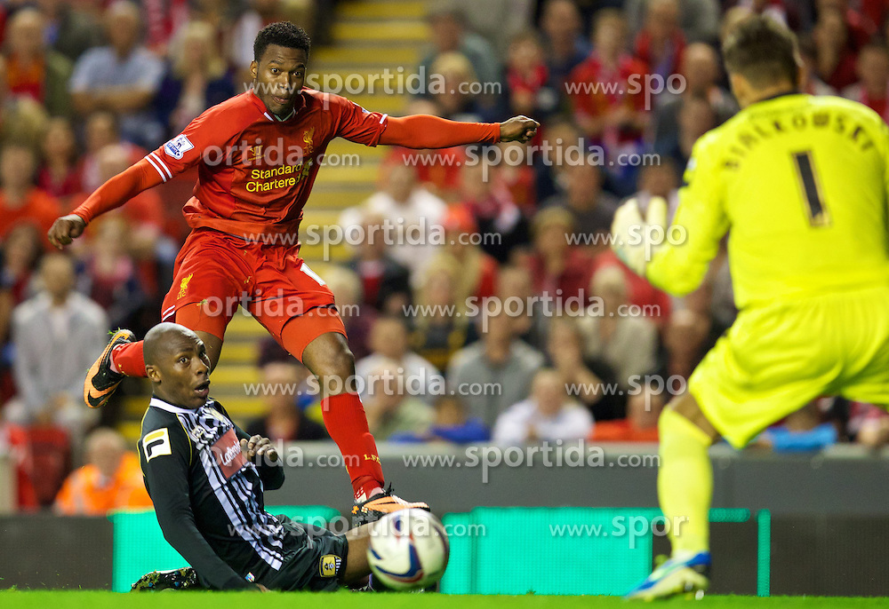 27.08.2013, Anfield, Liverpool, ENG, League Cup, FC Liverpool vs Notts County FC, 2. Runde, im Bild Liverpool's Daniel Sturridge scores the third goal against Notts County during the English League Cup 2nd round match between Liverpool FC and Notts County FC, at Anfield, Liverpool, Great Britain on 2013/08/27. EXPA Pictures &copy; 2013, PhotoCredit: EXPA/ Propagandaphoto/ David Rawcliffe<br /> <br /> ***** ATTENTION - OUT OF ENG, GBR, UK *****