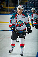 KELOWNA, CANADA - SEPTEMBER 2: Right wing Leif Mattson #28 of the Kelowna Rockets warms up against the Victoria Royals on September 2, 2017 at Prospera Place in Kelowna, British Columbia, Canada.  (Photo by Marissa Baecker/Shoot the Breeze)  *** Local Caption ***