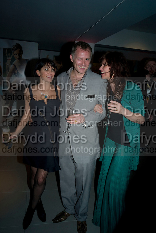 SADIE FROST, JOE CORRE AND SARAH MORRIS, A very Private Affair, Agent Provocateur in association with arena magazine. Spring/Summer collection party. Louise T. Blouin Foundation. 3 Olaf St. London. 1 April 2008. *** Local Caption *** -DO NOT ARCHIVE-© Copyright Photograph by Dafydd Jones. 248 Clapham Rd. London SW9 0PZ. Tel 0207 820 0771. www.dafjones.com.