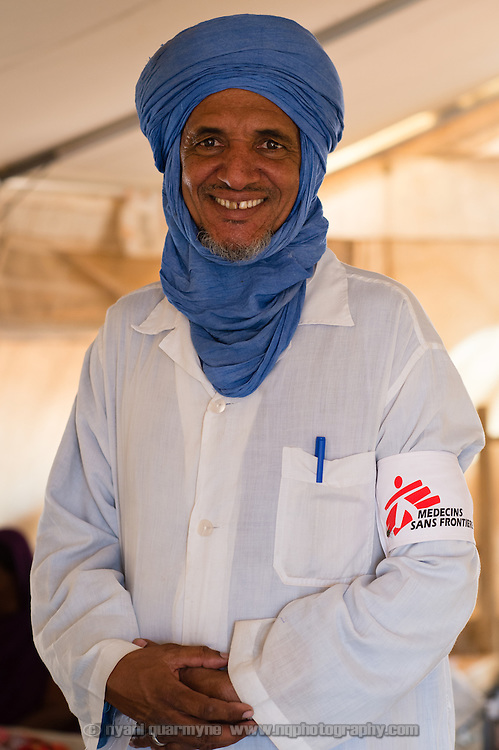 Care assistant, Mohamed Yahya Ag Mahmoud, at a Médecins Sans Frontières (MSF) health centre at the Mbera camp for Malian refugees in Mauritania, on 5 March 2013.