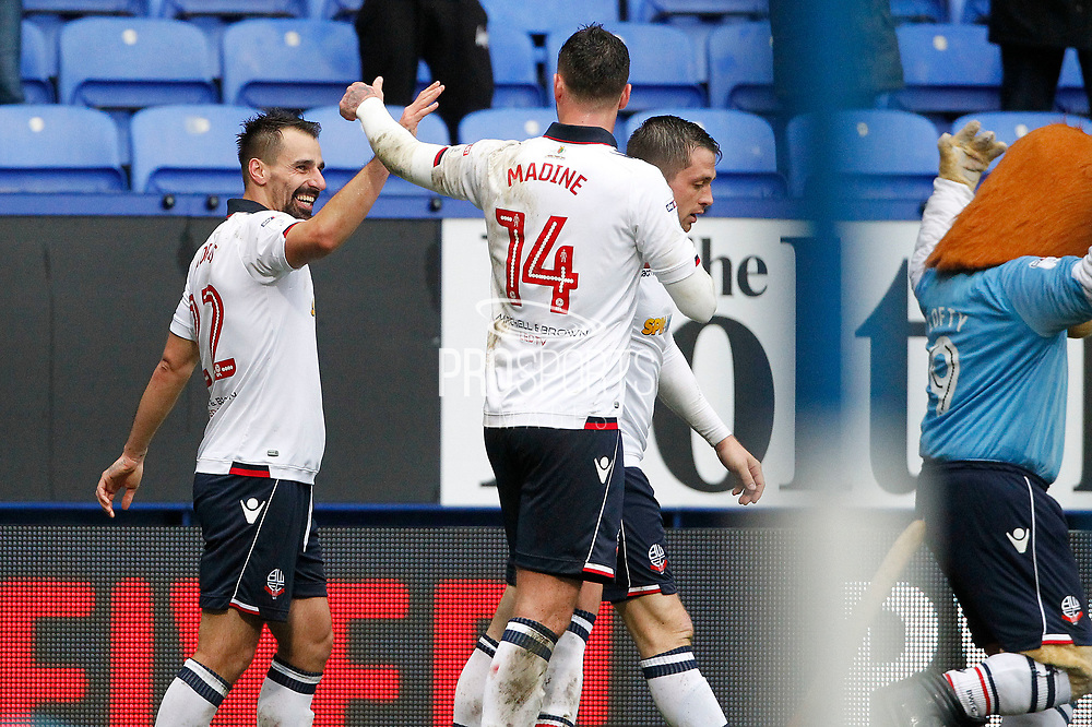 Bolton Wanderers Filipe Morais (22) celebrates his goal 2-1 during the EFL Sky Bet League 1 match between Bolton Wanderers and Northampton Town at the Macron Stadium, Bolton, England on 18 March 2017. Photo by Craig Galloway.