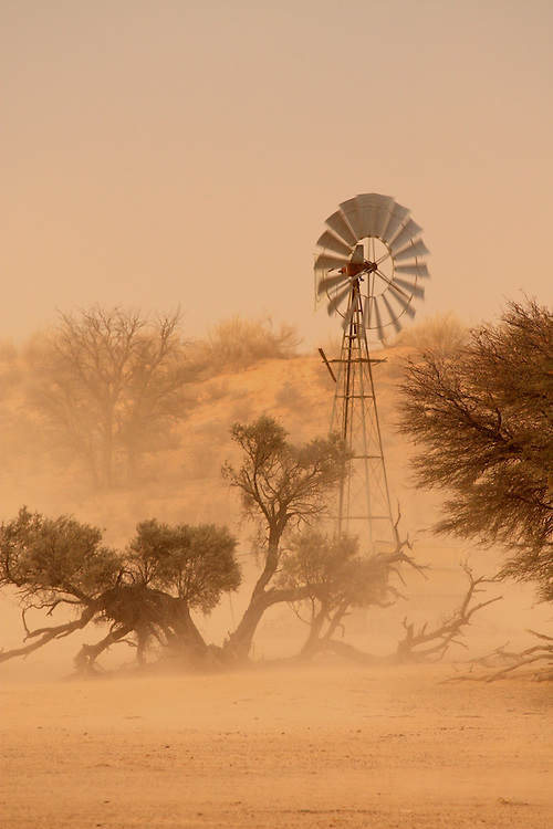Windmill during a brief dust storm in the Kgalagadi Transfrontier Park, northern South Africa.