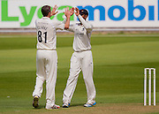 Rikki Clarke (Warwickshire County Cricket Club) celebrates taking the wicket of Keaton Jennings  (Durham County Cricket Club) during the LV County Championship Div 1 match between Durham County Cricket Club and Warwickshire County Cricket Club at the Emirates Durham ICG Ground, Chester-le-Street, United Kingdom on 12 July 2015. Photo by George Ledger.