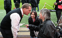 Sunday, 25 November 2012..Pictured: Brendan Rodgers, manager for Liverpool (L) speaks to Swansea supporters...Re: Barclays Premier League, Swansea City FC v Liverpool at the Liberty Stadium, south Wales.