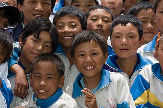 Elementary level school children in uniform in Tibetan school. Asia.