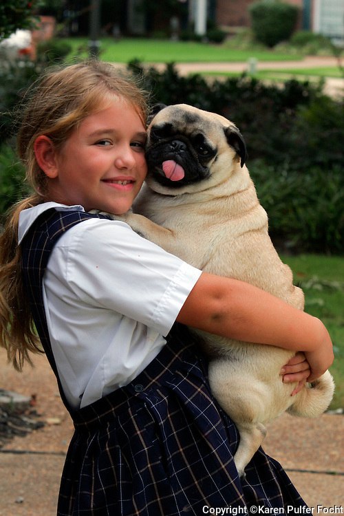 Elli Rose Focht and her pug Peppermint.