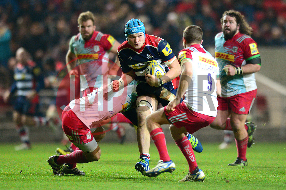 Olly Robinson (c) of Bristol Rugby is tackled  - Mandatory by-line: Dougie Allward/JMP - 10/02/2017 - RUGBY - Ashton Gate - Bristol, England - Bristol Rugby v Harlequins - Aviva Premiership