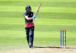 Heather Knight of England Women celebrates reaching 50 by raising her bat - Mandatory by-line: Robbie Stephenson/JMP - 02/07/2017 - CRICKET - County Ground - Taunton, United Kingdom - England Women v Sri Lanka Women - ICC Women's World Cup Group Stage