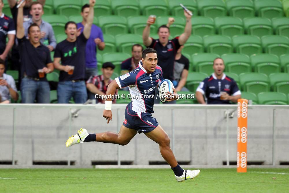 Cooper Vuna crosses the line for a try during the Super Rugby pre season, Rebels v Blues, AAMI Park, Melbourne. Saturday 11 February 2012. Photo: Clay Cross/photosport.co.nz