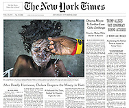 "THE NEW YORK TIMES. A1. ""After Deadly Hurricane, Cholera Deepens the Misery in Haiti"" by Azam Ahmed. October 15, 2016"