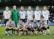 Scotalnd under 21 starting eleven, Back; Paul Hanlon, Mark Ridgers, Jordan Rhodes, Daniel Wilson, Ross Perry, Thomas Cairney, Front; David Wotherspoon, Liam Kelly, Gary Mackay-Steven, Johnathon Russell, Ryan Jack - Scotland v Holland - UEFA U21 European Championship qualifier at St Mirren Park..© David Young - .5 Foundry Place - .Monifieth - .Angus - .DD5 4BB - .Tel: 07765 252616 - .email: davidyoungphoto@gmail.com.web: www.davidyoungphoto.co.uk