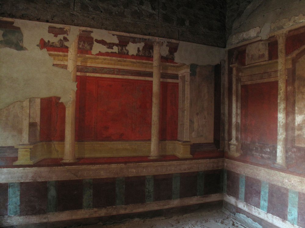Interior of the dining room in the House of Augustus, on the Palatine Hill, Rome; opened to visitors in 2008 after years of careful restoration.