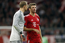 (l-r) goalkeeper Manuel Neuer of FC Bayern Munchen, Thomas Muller of FC Bayern Munchen during the UEFA Champions League group E match between Bayern Munich and Ajax Amsterdam at the Allianz Arena on October 02, 2018 in Munich, Germany