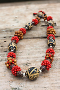 French Polynesia, Marquesas Islands, Nuku Hiva Traditional necklace, made with seeds