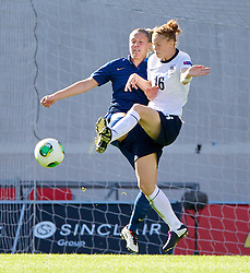 LLANELLI, WALES - Saturday, August 31, 2013: England's Meaghan Sargeant in action against France during the Final of the UEFA Women's Under-19 Championship Wales 2013 tournament at Parc y Scarlets. (Pic by David Rawcliffe/Propaganda)
