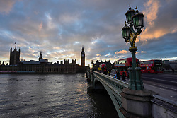 © Licensed to London News Pictures. 21/03/2017. London, UK. The sun sets behind The Houses of Parliament in Westminster, on the day of the Spring Equinox and the day that Theresa May, Prime Minister, announced that 29 March would be the day that the UK would trigger Article 50 to exit the European Union. Photo credit : Stephen Chung/LNP